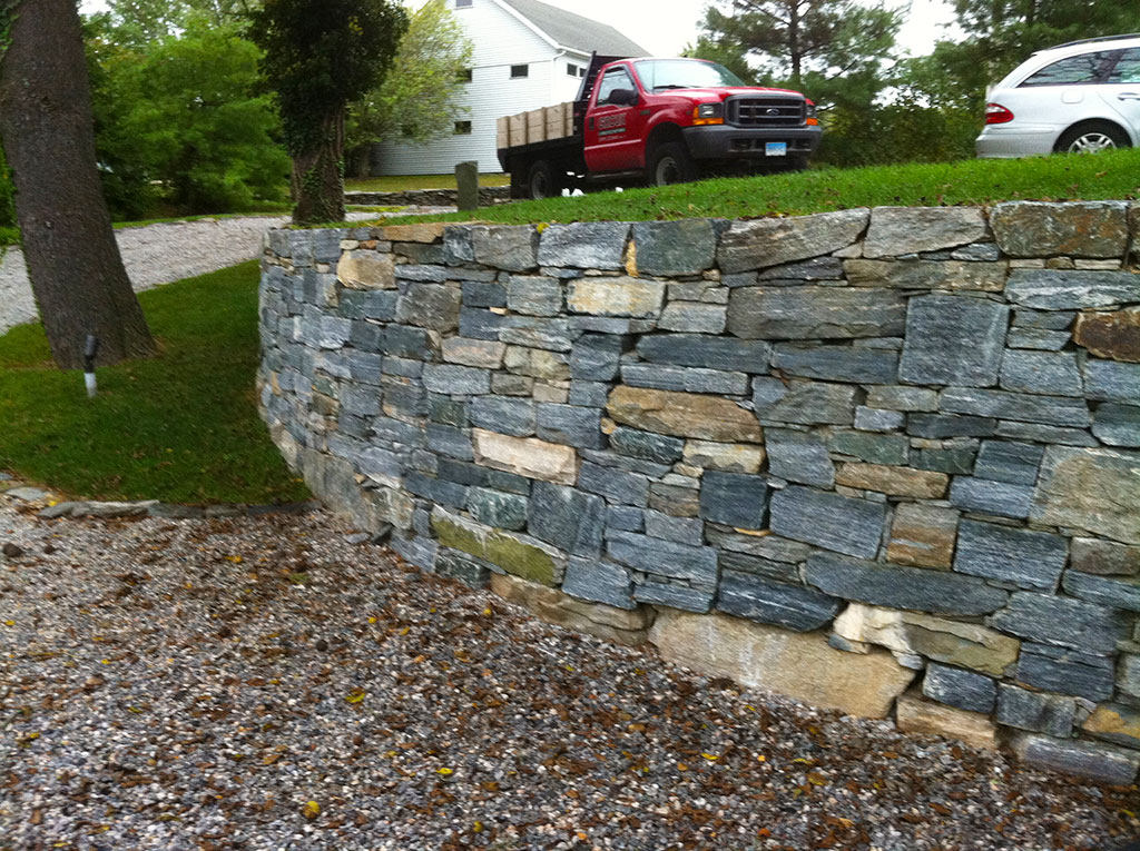 Natural Stone Wall Walkway Giroux Landscaping